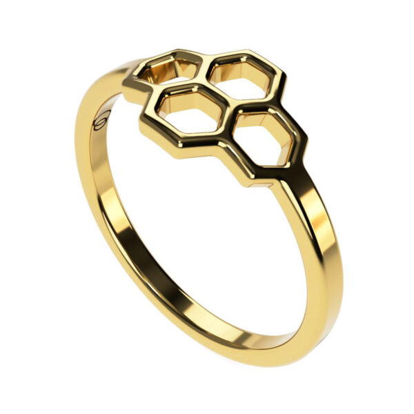 Uniti Honeycomb Yellow Gold Ring