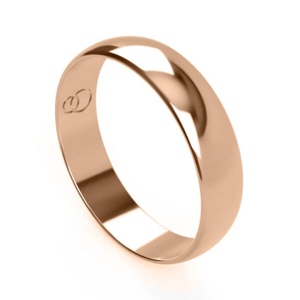 Uniti D-Shaped red gold Wedding Ring for him