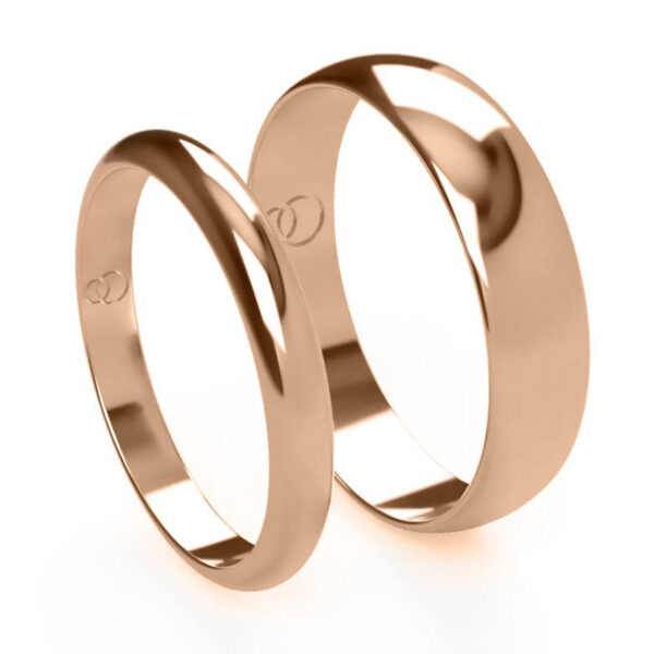 Uniti D-shaped Red Gold Wedding Ring His and Hers