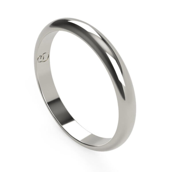 Uniti D-Shaped Platinum white gold silver Wedding Ring for her