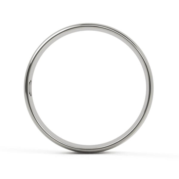 Uniti D-Shaped Platinum white gold silver Wedding Ring for him