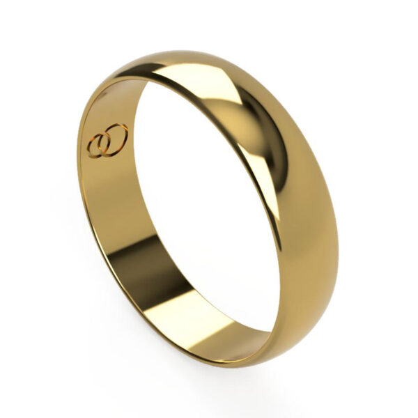 Uniti D-Shaped yellow gold Wedding Ring for him