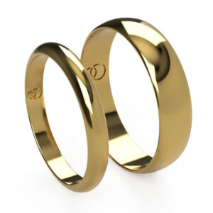 Uniti D-shaped Yellow Gold Wedding Ring His and Hers