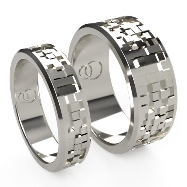 Uniti Equalizer Platinum white gold silver Wedding Ring His and Hers