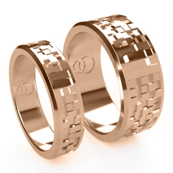 Uniti Equalizer Red Gold Wedding Ring His and Hers