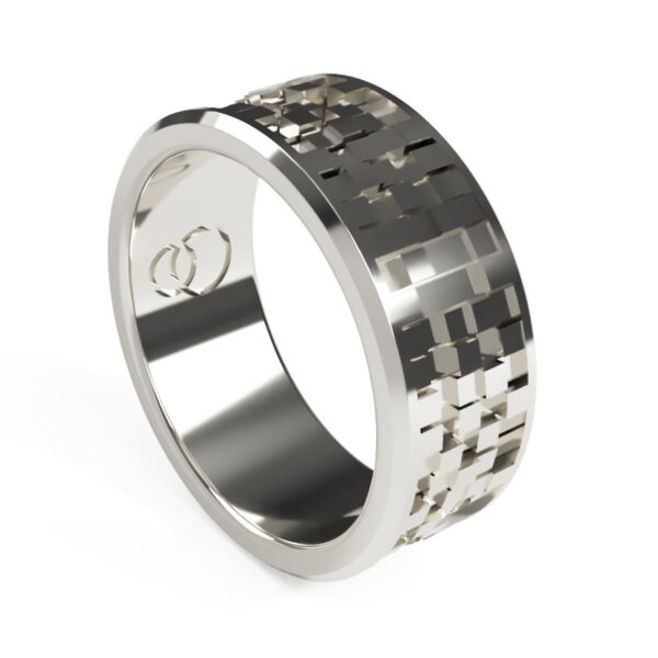 Uniti Equalizer Platinum white gold silver Wedding Ring for him