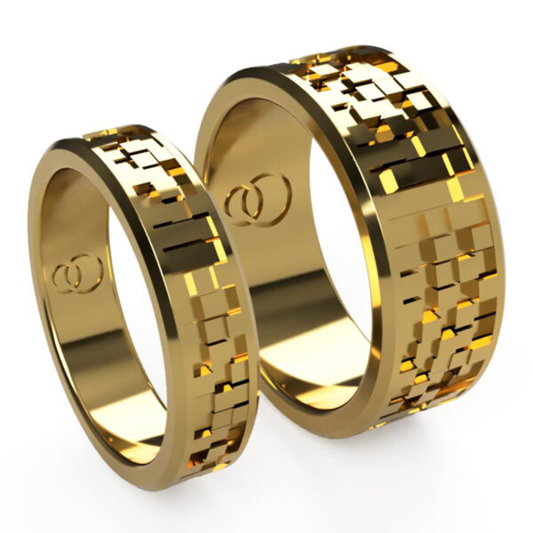 Uniti Equalizer Yellow Gold Wedding Ring His and Hers
