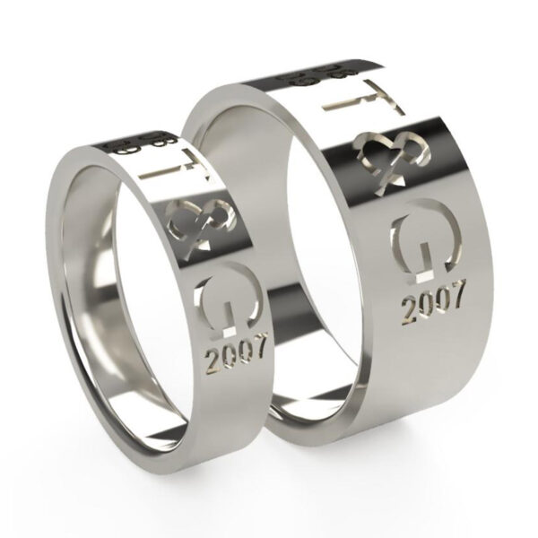 Uniti Everlasting Platinum white gold silver Wedding Ring His and Hers