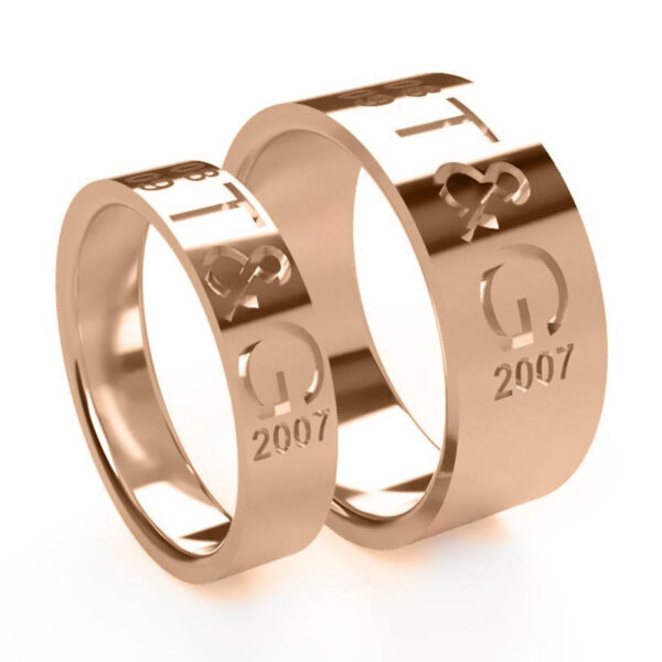Uniti Everlasting Red Gold Wedding Ring His and Hers