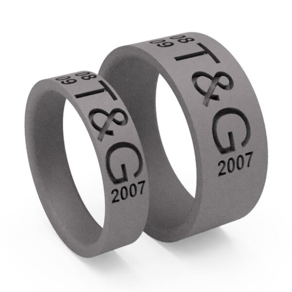 Uniti Everlasting Titanium Wedding Ring His and Hers