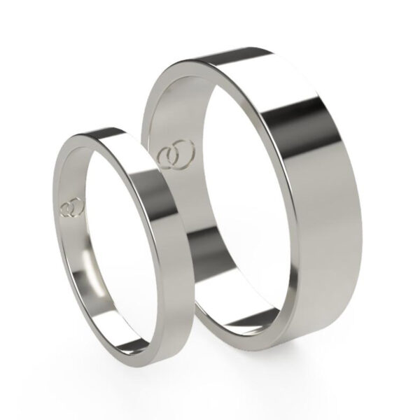 Uniti Flat Platinum white gold silver Wedding Ring His and Hers