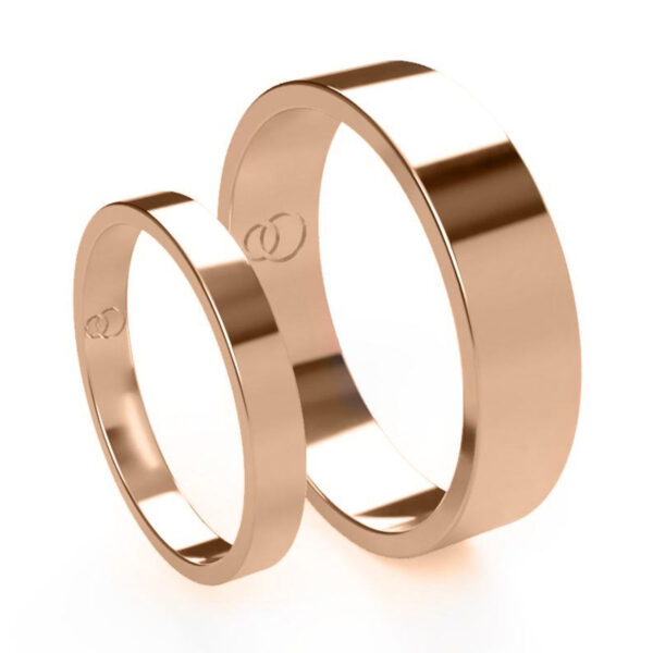 Uniti Flat Red Gold Wedding Ring His and Hers