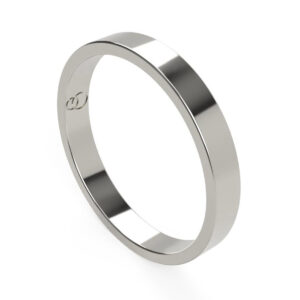 Uniti Flat Platinum white gold silver Wedding Ring for her