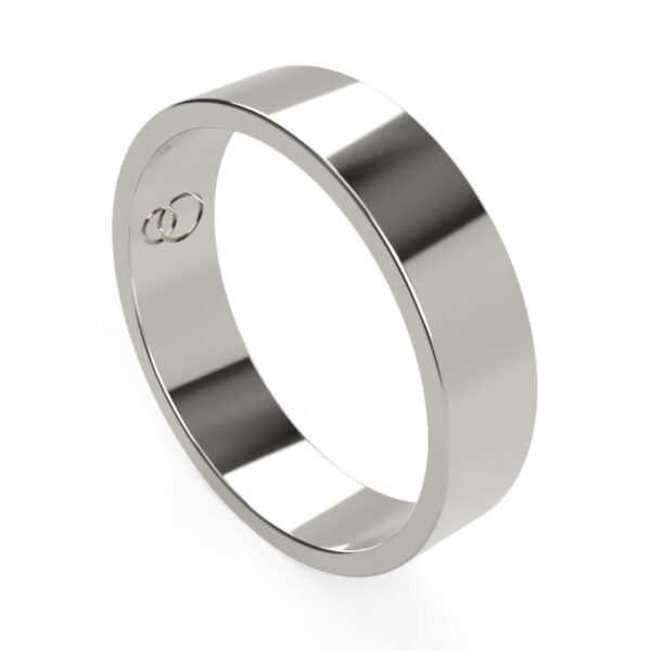 Uniti Flat Platinum white gold silver Wedding Ring for him