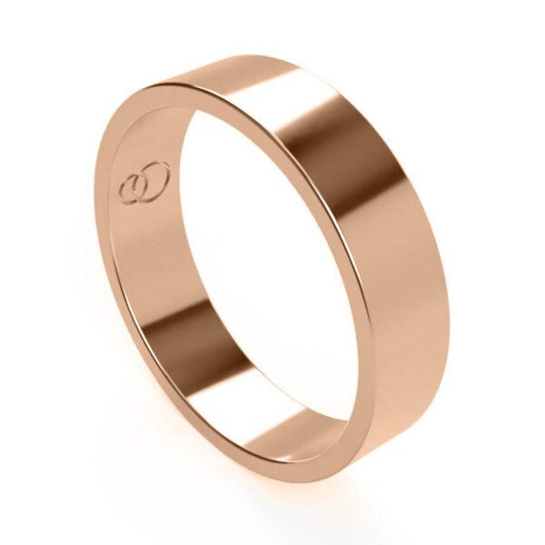 Uniti Flat red gold Wedding Ring for him