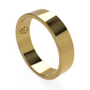 Uniti Flat yellow gold Wedding Ring for him