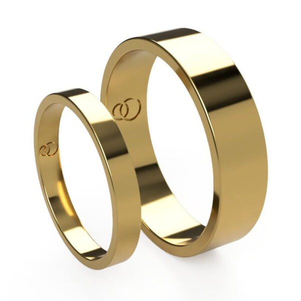 Uniti Flat Yellow Gold Wedding Ring His and Hers