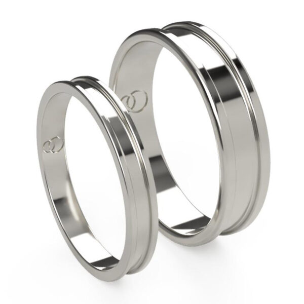 Uniti Rivulet Platinum white gold silver Wedding Ring His and Hers