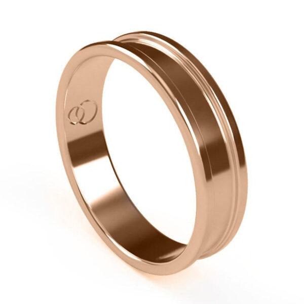 Uniti Rivulet Red Gold Wedding Ring for him