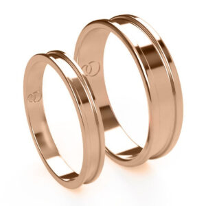 Uniti Rivulet Red Gold Wedding Ring His and Hers