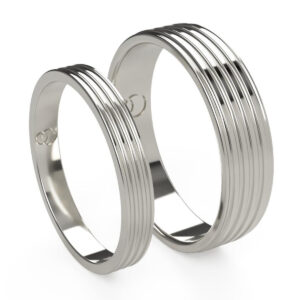 Uniti Saturn Platinum white gold silver Wedding Ring His and Hers