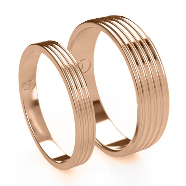 Uniti Saturn Red Gold Wedding Ring His and Hers