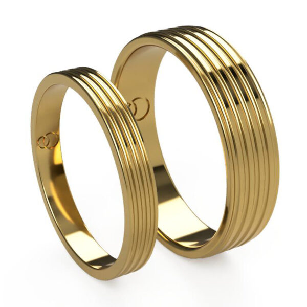 Uniti Saturn Yellow Gold Wedding Ring His and Hers